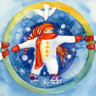 Skating Mandala Watercolor by Amy Hautman