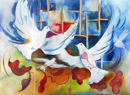White Doves Watercolor